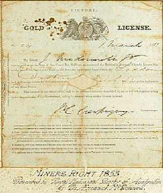 A license had to be obtained in the gold rush South Australia.