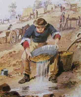 Panning during the South Australian Gold Rush.